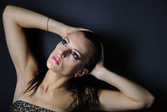 Beautiful girl model in leopard topic Stock Photo