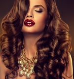 Beautiful girl model with long brown curled hair. With large necklace Stock Image