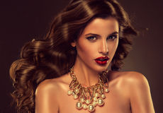 Beautiful girl model with long brown curled hair stock images