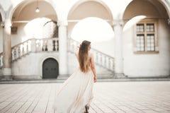 Beautiful girl, model with long hair posing in old castle near columns. Krakow Vavel