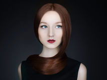 Beautiful girl model with Long healthy red hair Stock Images