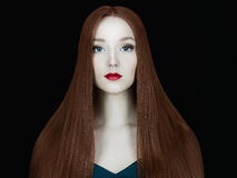 Beautiful girl model with Long healthy red hair. Young red hair woman.Beautiful girl model with make-up.Long healthy red hair Stock Photo