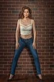 Beautiful girl model posing near brick wall. Royalty Free Stock Photo