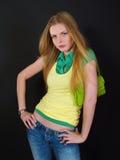 Beautiful girl with modern green bag Stock Image