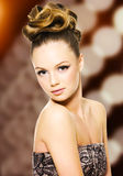 Beautiful girl with modern hairstyle royalty free stock images