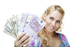 Beautiful girl with money Royalty Free Stock Photos