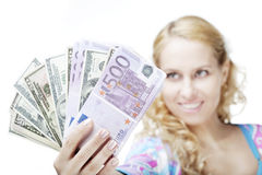 Beautiful girl with money Stock Image