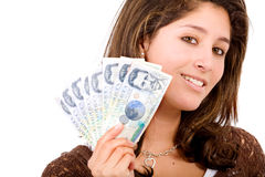 Beautiful girl with money Stock Photography