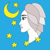 Beautiful girl with moon and star on the blue background Stock Photos