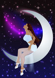 Beautiful girl moon and stars Stock Image
