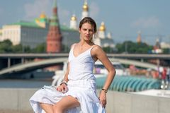 Beautiful girl in Moscow Royalty Free Stock Photos