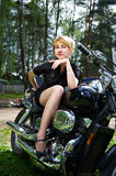 Beautiful girl on motorcycle Royalty Free Stock Images