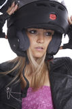 The beautiful girl with a motorcycle helmet Stock Photos