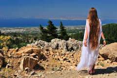 Beautiful girl on the mountain Stock Image