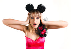 Beautiful girl with mouse ears, surprised Royalty Free Stock Image
