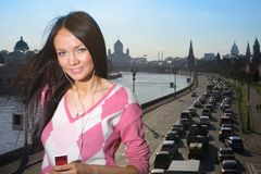 Beautiful girl mp3 player Stock Images