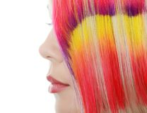 The beautiful girl with  multi-coloured strand in hair Royalty Free Stock Photography