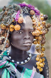 Beautiful girl from Mursi tribe, Ethiopia, Omo Valley stock images