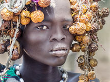 Beautiful girl from Mursi tribe, Ethiopia, Omo Valley stock photography