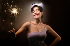 A beautiful girl with my birthday. A beautiful girl with a little fireworks Stock Images