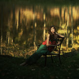 Beautiful girl in a mysterious place Stock Images