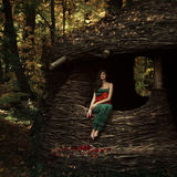 Beautiful girl in a mysterious place Royalty Free Stock Photography
