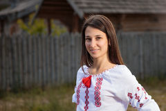 The beautiful girl in National Ukrainian Costume Royalty Free Stock Photography