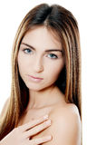 The beautiful girl with natural make-up Stock Photography