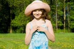 Beautiful girl on the nature Royalty Free Stock Photography