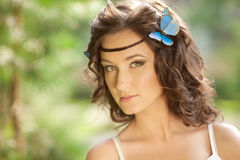 Beautiful girl on nature. Beautiful Young girl Outdoors. Enjoy H Stock Photo