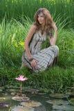 Beautiful girl in nature, close up Stock Photos