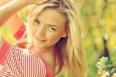 Beautiful girl on nature - close up portrait Stock Photos