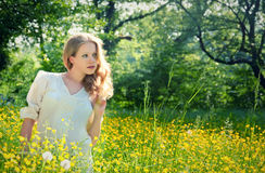 Beautiful  girl in nature, in a field of flowers Stock Photo