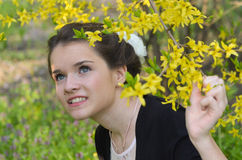 Beautiful girl in nature royalty free stock images