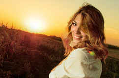 Beautiful girl in nature Stock Photography
