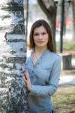 Beautiful girl near the birch Royalty Free Stock Image