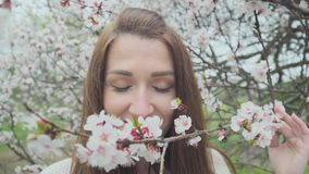 Beautiful girl near blossoming tree in spring.  stock video footage