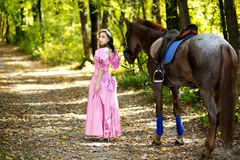 Woman near horse stock photography