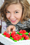 Beautiful girl near cake Royalty Free Stock Photography