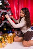 Beautiful girl near christmas tree Stock Photography