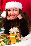 Beautiful girl near christmas tree Stock Photos