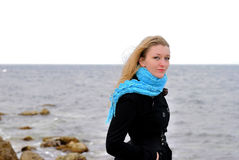 The beautiful girl near the sea Royalty Free Stock Photography