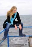 The beautiful girl near the sea Stock Image