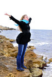 The beautiful girl near the sea Stock Photos