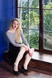 Beautiful Girl Near The Windows At Home Royalty Free Stock Photo