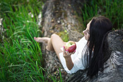 Beautiful girl near the tree. Beautiful girl in a white shirt near the tree Stock Photos