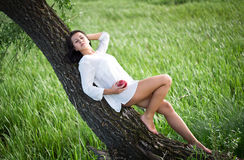 Beautiful girl near the tree. Beautiful girl in a white shirt near the tree Stock Images