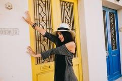 Beautiful girl next door yellow Stock Image