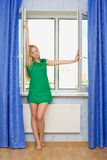 Beautiful Girl Next Window Royalty Free Stock Images