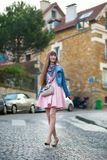 Beautiful girl in nice pink dress on Montmartre Stock Photos